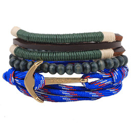 Wholesale Beaded Wooden Bracelet - New Multi layer unisex bracelets A plurality of anchor straps beaded bracelets wooden beads woven bracelets
