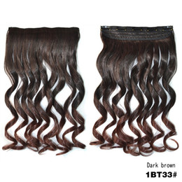 Wholesale Synthetic Peruvian Weave - Sara Mega Peruvian Kinky Curly Wavy Clip In Hair Extensions Weave 45CM,18INCH Marley Braiding Hair Hairpiece Brown Pieces Synthetic Hair