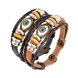 Wholesale Turkish Evil Eye Wholesale - Punk Turkish Evil Eye Bracelets Wristband Female Genuine Leather Bracelet Ethnic Vintage Jewelry For Women Men Bijouterie 160422