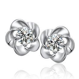 Wholesale Plum Blossom Flower Earring - Plum blossom Crystal stud earrings Silver plated earrings Copper Earing Ear Stud Factory direct sale