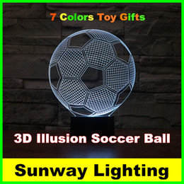 Wholesale Visual Lighting - Seven Colors Changing Soccer Ball Light Football 3D Visual Led Night Light USB Novelty Table Lamps created LED Christmas Lights toy gifts
