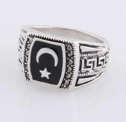 Wholesale Wholesale Moon Star Rings - Muslim Moon Star Ring Antique Silver Color Muhammed Muslim Islamic Arabic Ring Middle Eastern Religious Jewelry For Men Women