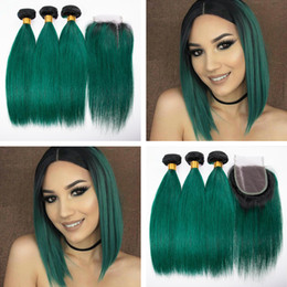 Wholesale Green Machine Parts - Dark Green Human Hair 3 Bundles With Lace Closure Two Tone Ombre 1B Green Hair Weaves With Lace Closure Free Middle Part