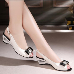 Wholesale Kitten Heel Shoes Diamonds - 2016 Summer new fish mouth shoes women sandals with diamond shaped slope with shallow mouth shoes bow women shoes sandals