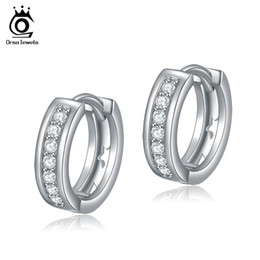 Wholesale Stud Hoop - ORSA Jewelry New Arrival Classy Hoop Earring for Ladies Silver with Platinum Plated Hot Sale OE101