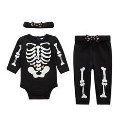 Wholesale Pajamas Skeleton - Unisex Baby Sleepwear Clothing Set Glow in the Dark Skeleton Pyjamas Set 3 Pcs Autumn Winter Style
