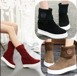 Wholesale Kitten Heel Red Boots - Us size:5-8.5 Spring Autumn Women Ankle Boots Height Increase Inside Lady All Match Daily Casual Shoes Solid Color Concise Design