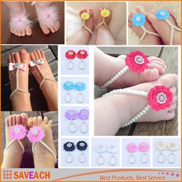 Wholesale Shoes Style Girl Feet - 2016 New Baby Girl Summer Barefoot Sandals Baby Boy First Walker Baby Shoes baby Slipper Baby Toddler Foot Rings 11 style
