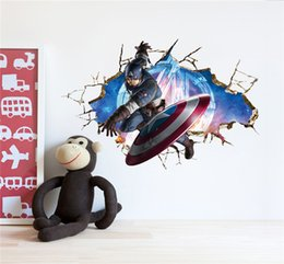 Wholesale Avengers Wall Stickers - Avengers 3D Through Wall Stickers Decals Art for Baby Nursery Home Decoration Captain America Wall Paper Kids Cartoon Poster Wall Stickers