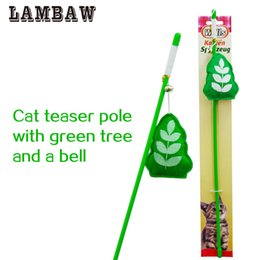 Wholesale Funny Plastic Bags - cat pet suppliers toy teaser with flexibale plastic pole stick green lucky bag ring ball interactive full funny for kitten