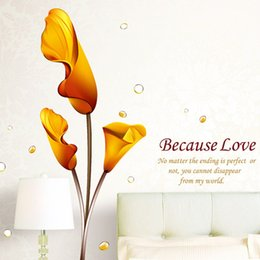 Wholesale Calla Lilies Wall Art - Because Love Calla Lily Wall Stickers Flowers Characters Wall Decals Wallpaper Art for Home Bedroom Living Room Office Decorations WS223