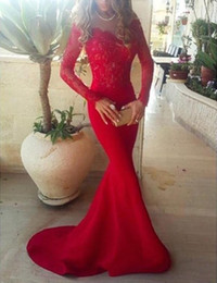 Wholesale Fashion Designer Training - 2018 Mermaid Evening Dresses with Long Sleeves Sheer Lace Sweep Train Sexy Prom Dresses Vintage Formal Dresses for Wedding