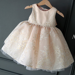 Wholesale Nice Birthday Party - Champagne Flower Girls Dresses Ball Gown Girls Party Dress Knee Length Nice Satin with Floral Lace Flower Girls Dresses Cheap L&P DQL Studio