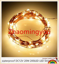 Wholesale oval led lighting 12v - YON waterproof DC12V 20M 200LED LED String Lights Christmas Fairy Lights 8 colors Copper Wire LED Starry Lights Wedding Decoration