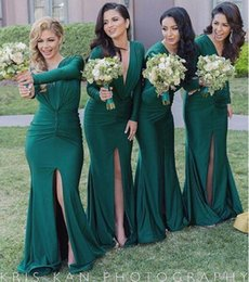 Wholesale Silk Mermaid Wedding Dresses - Hunter Green Sexy Split Bridesmaid Dresses Deep V Neck Long Sleeves Sweep Train 2016 Custom Made Maid Of Honor Wedding Party Guest Gowns