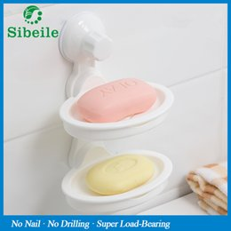 Wholesale Double Layer Tray - Sble Kitchen Bathroom Storage Basket Vacuum Suction Cup Soap Dish Holder Removable Double Layers Wall Plastic Soap Dish Tray