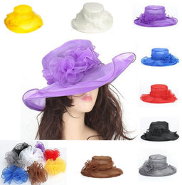 Wholesale Elegant Hats For Wedding - Elegant Fashion Women's Church Hats For Women Flower Hat Summer Gorras Sun Hat Wedding Kentucky Derby Wide Brim Sea Beach hat