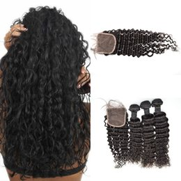 Wholesale Deep Wave Full Head Weave - Lace Closure(4*4) With 3pcs Bundles Full Head Malaysian Virgin Hair Extensions Deep Wave Natural Color Dyeable G-EASY Hair