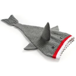 crochet baby animal prop Coupons - Baby Crocheted Cute Shark Sleeping bag Newborns cartoon animal photo props handmade clothes