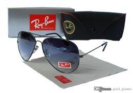 Wholesale Mirrored Goggles - 2017 New Vintage Aviator Sunglasses Pilot RAY 62mm Men Women UV400 Band P BEN Gafas Mirror Lenses Sun Glasses BANS with cases