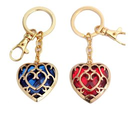 Wholesale Sword Keyring - Anime Legend of Zelda Keychains Skyward Sword Heart pendant Alloy Zinc Key chain Keyrings Blue & Red Heart Necklace