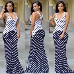 Wholesale Casual Night Long Dress - 2016 Women Summer Long Maxi Dress Casual Vestidos Sexy Bandage Bodycon Stretch Party Dresses Sling Stripes Boho Beach Dress