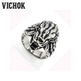 Wholesale Wolf Fingers - 316 L Stainless Steel ring Wolf Head Finger Ring 2017 fashion Punk Men's Stainless Steel free shipping hot sale men rings VICHOK
