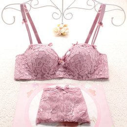 Wholesale Lycra Underwear Women Sexy - Full lace thin cup with padded ladies bra and panty set sweet cute young girls embroidery floral women push up underwear sets