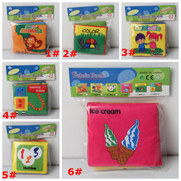 Wholesale Early Baby - Opp Pocketed Three-dimensional Baby Cloth Book Early Education Toys English Palm Book Animal Digital Cognitive Green Baby Cloth Book