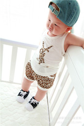 Wholesale Grain Vest - The summer children's wear boy and girl baby white vest + leopard grain shorts Leisure suit leopard grain vest virgin suit two piece