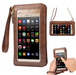 Wholesale Iphone 4s Pouches - NEW Leather Case Touch Screen + Small Shoulder Crossbody Pouch + Wallet Bag for iPhone 5 5s SE 6 6s plus 4 4s Cell Phones Bag