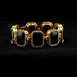 Wholesale Rubies Bangles - wholesale watch Geometric bracelets for women Iced Out Black gold Bracelet Ruby Rappers Style Link bangles