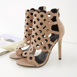 Wholesale Sexy Peep Toe Flat Sandal - Women Sandals Pumps 2016 Sexy Peep Toe High Heels Women'sFashion Hollow Out Gladiator Shoes Elegant Lady Summer Shoes