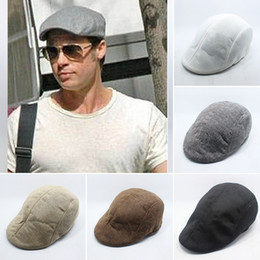 Autumn And Winter Fashion Mens Vintage Flat Cap Peaked Racing Hat Beret  Country Golf Newsboy Hats YYA526 mens flat peak caps on sale 2c5014e6034