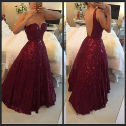 Wholesale Beaded L - Burgundy Sequined Beaded Gowns Prom Dresses 2016 Plus Size vestidos de festa Sexy Crystals Backless African A Line Sweethart Evening Party L