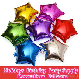Wholesale Small Animal Wholesale Supply - 50 Pcs Small pentagram Helium Foil Balloons 10,18 inch,Holidays Birthday Party Supply Decorations Gold Color Balloons 3006-2