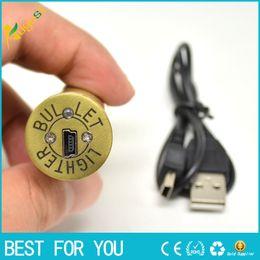 Wholesale Metal Bullet Lighters - Electronic Cigarette Lighter Rechargeable USB Lighters Flameless Windproof lighter Bullet shape lighter USB lighters
