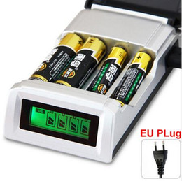 Wholesale Smart Charger Lcd - Universal C905W 4 Slots LCD Display Smart Intelligent li-ion Battery Charger for AA AAA NiCd NiMh Rechargeable Batteries EU US Plug