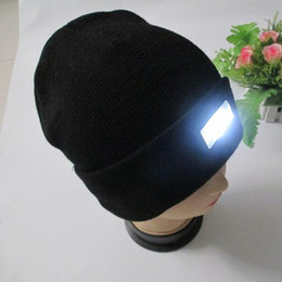 Wholesale Kids Checked Cap - LED headlamp Glow Knitting fishing hat 5 leds Adult &Kids Winter Snowman Warmer cap Outdoor Skiing Sport Hat new year Gift