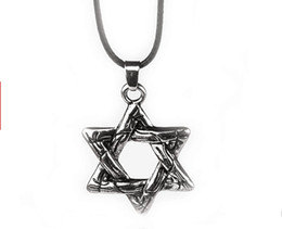Wholesale Israel Necklace - vintage Argent alloy Israel Judaism Jews necklace Mark sign symbol Hexagram Hexagonal pendant Jewish Star of David necklace unisex x148