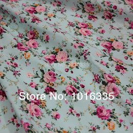 Wholesale Cotton Poplin Fabrics - Hot Sale Light blue roses 100% cotton fabric 2 meters,Width 1.45 meter wholesale poplin fabric country rose blue