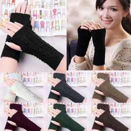 Wholesale Cheap Ladies Mittens - Wholesale- Hot New 2017 Women Ladies Winter Gloves Warm Knitted Fingerless Gloves Hand Wrist Warmer Mitten Snow Gloves For women Cheap Z1