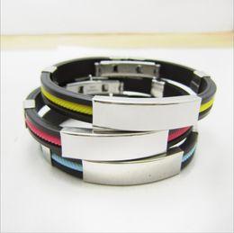 Wholesale Bohemian Bracelet Diy - Hot DIY DIY lettering Korean bracelet titanium silicone men's stainless steel bracelet star bracelet