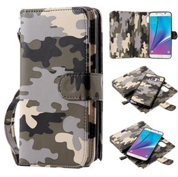 Wholesale Cool Apple Skins - Card Holder Wallet Flip Case + Hard PU Leather Cool Fashion Army Camouflage Case Cover Skin For Iphone 5 6s 6plus samsung S6 S6 edge S7