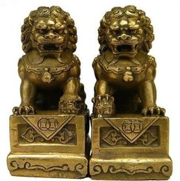 Wholesale Carved Doors - Wholesale cheap Chinese Brass Folk Fengshui Foo Fu Dog Guardion Door Lion Statue 1pair   2pcs Free Shipping