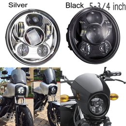 """Wholesale Motorcycle Head Light Black - Motorcycle H4 High And Low Beam Bicycle 5.75"""" Round Black Chrome Led Head light Lamp Motorcycle Fittable for Davidson Harley"""