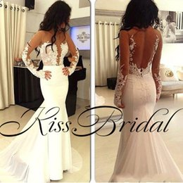 Wholesale Strapless Mermaid Wedding Gowns - Real Images 2018 Berta Wedding Dresses Long Sleeves Illusion Sexy Back Formal Mermaid Satin Bridal Gowns