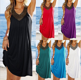 Wholesale Loose Evening Dresses - 2016 Women's Sexy Dresses Summer V-Neck Loose Short Casual Dress Boho Long Beach Evening Party Dresses Sundress
