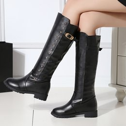 Wholesale Knight Belt Buckle - Ladies boots Autumn and winter belt buckle Black Knight Boots Genuine PU Fashion zipper Low heeled High boots Sexy women boots