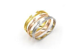 Wholesale Wholesale Titanium Black Diamond Rings - 2016 wholesale jewelry titanium 18k gold plated eternal love diamond arrows women bangle bracelet 10 pieces lot free shipping